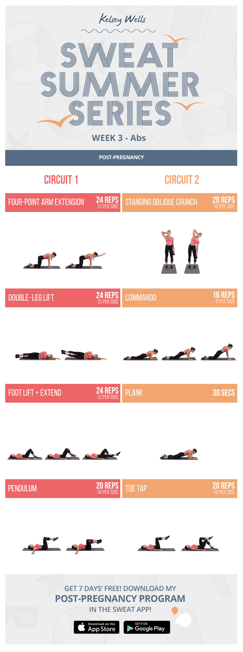 Kelsey Wells Abs workout Sweat summer series