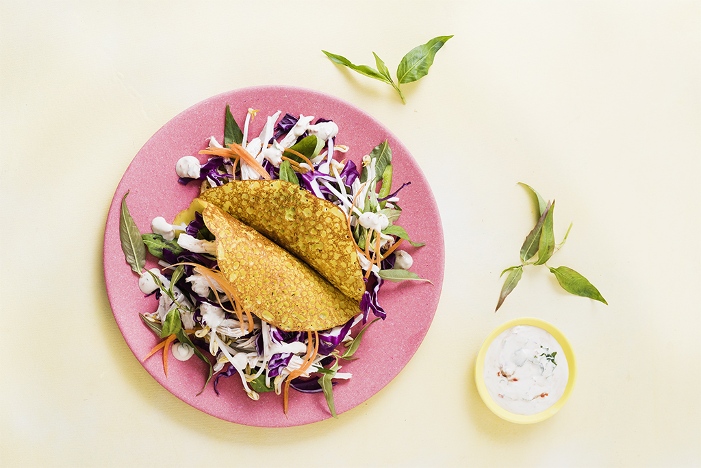 Crispy Pancake With Chicken And Asian Slaw Recipe