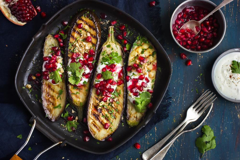 Grilled Eggplant with Pomegranate and Yoghurt Sauce Recipe