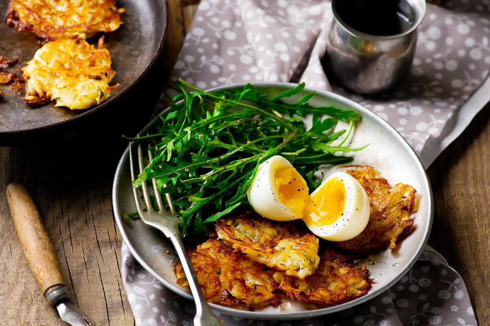 Eggs With Potato Rosti And Rocket Recipe