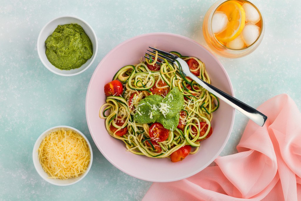 Zucchini Noodles with Rocket and Basil Pesto Recipe
