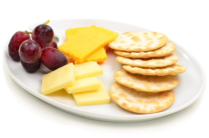Healthy Snack Idea Crackers Cheese Grapes