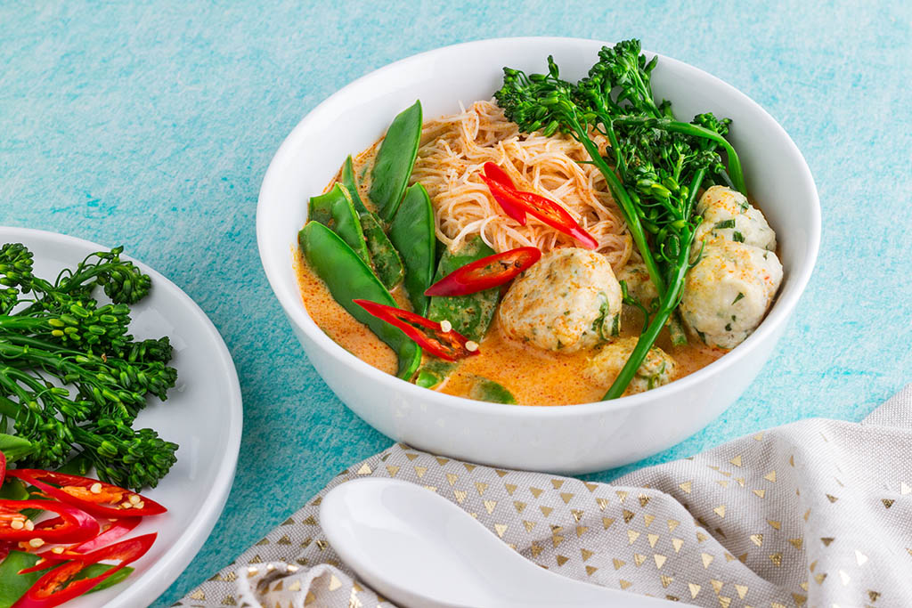 Laksa With Chicken Meatballs