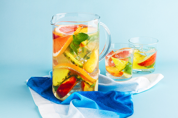 Try sparkling water with fruit instead of soda