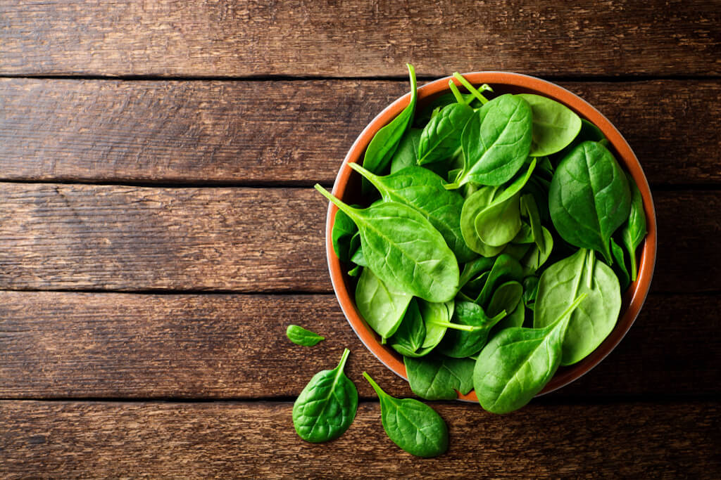 Spinach is a food high in energy